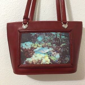Brighton Leather Purse with Fish and Coral Image